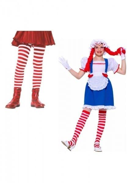 Rag Doll Girls Costume And Red White Striped Tights