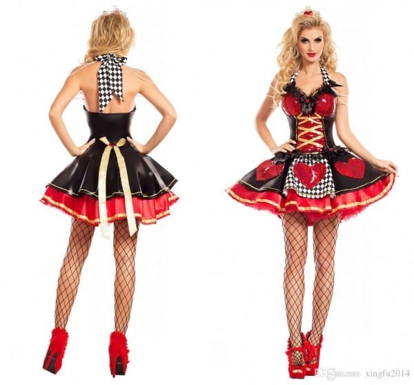 Halloween Costumes Adult Womens Poker Red Queen Of Hearts Costume