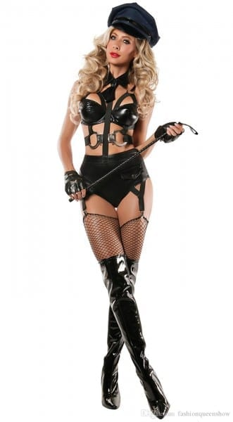 Hot Sexy Black Halloween Costume Women Police Cosplay Bodysuit