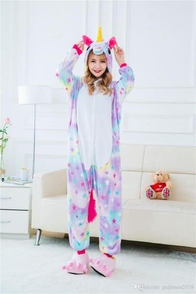 Adult Rainbow Unicorn Onesie Animal Pajamas Unsix One Piece
