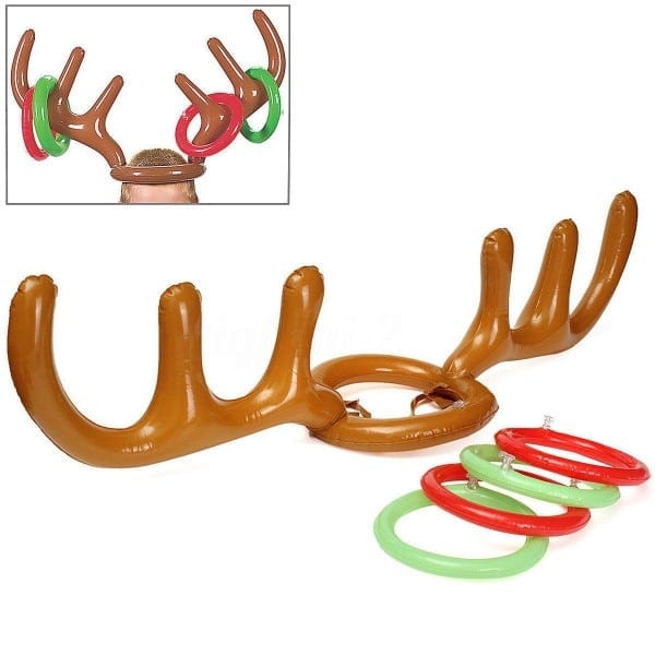 Inflatable Pvc Reindeer Antler Hat Ring Toss Game Xmas Holiday