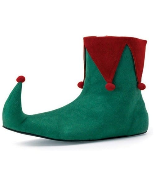 Adult Red And Green Elf Shoes