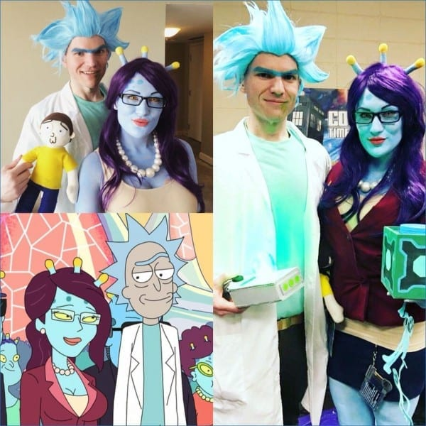 Rick And Unity From Rick And Morty  Kromulon Head From Rick Morty