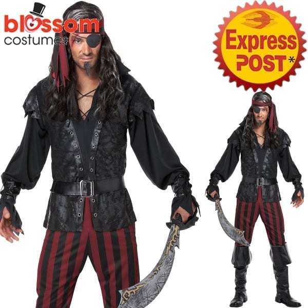 Ca469 Ruthless Rogue Pirate Swashbuckler Costume Halloween Fancy