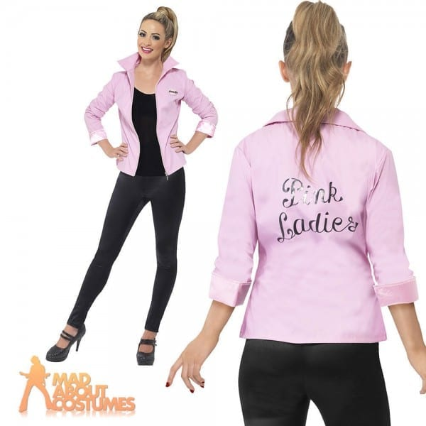 Deluxe Pink Lady Ladies Jacket Grease Frenchy Rizzo Fancy Dress