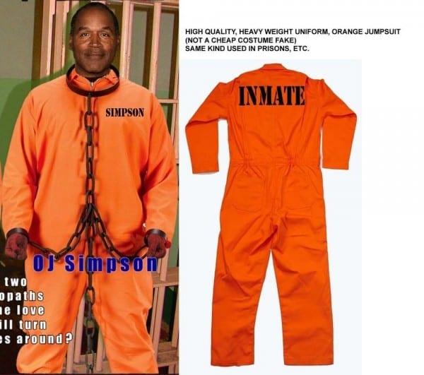 Oj Simpson Orange Inmate Jumpsuit Outfit Prison Jail Halloween