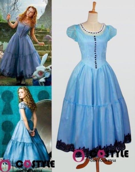 Tim Burton 's Alice In Wonderland Outfit Blue Dress Halloween