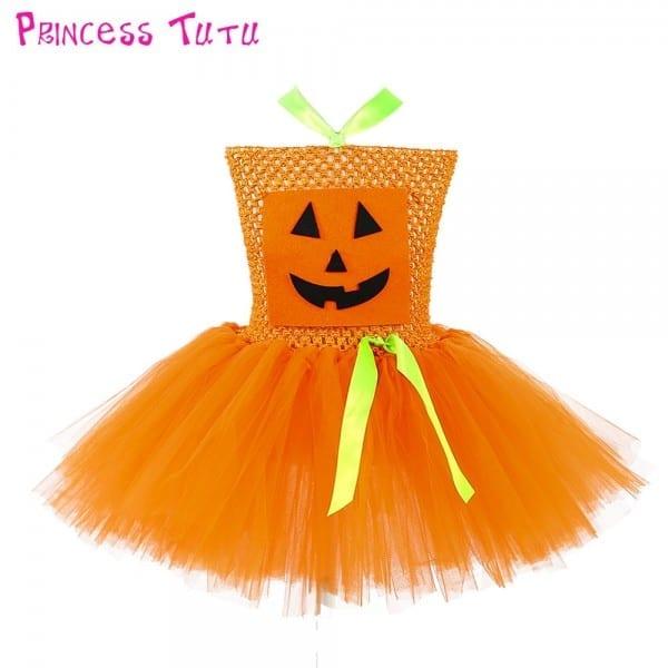 Scarecrow Halloween Girl Pumpkin Tulle Tutu Dress Scary Pattern