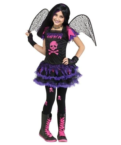 Pink Skull Fairy Girls Costume