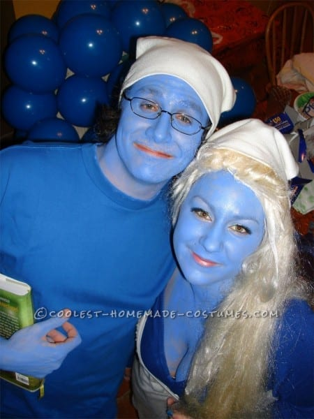Homemade Smurf And Smurfette Couple Halloween Costume
