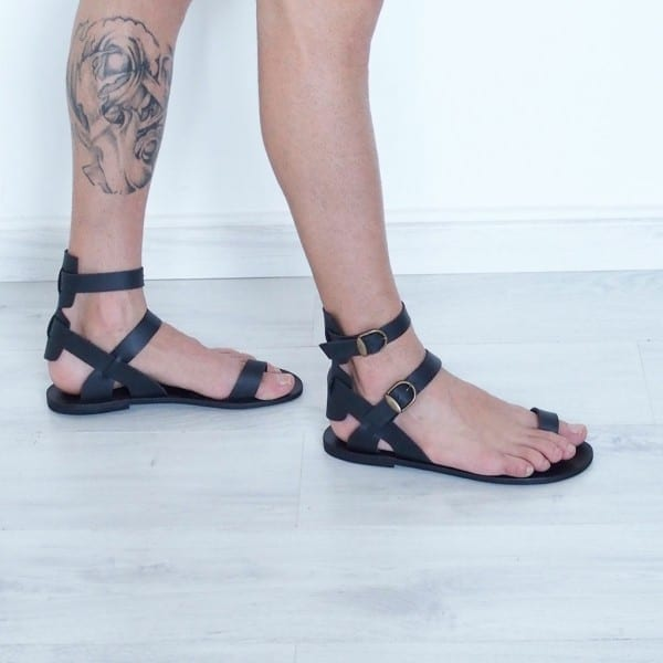 Mens Gladiator Sandals Toe Ring Black Leather Ankle Cuff