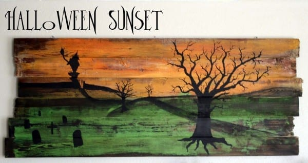 Running With Scissors  Fence Wall Hanging  Halloween Sunset