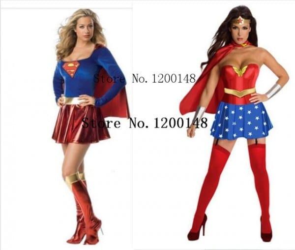 Super Girl Ladies Wonder Woman Costume Fancy Dress Women Halloween