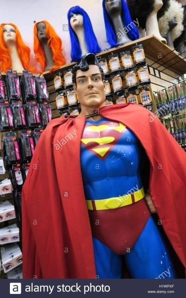 Superman Mannequin In Halloween Costume Shop, Nyc, Usa Stock Photo