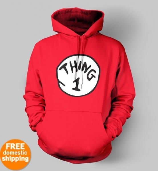 Thing 1 Thing 2 Thing3 Hoodie Sweatshirt Dr Seuss Cat In Hat Adult