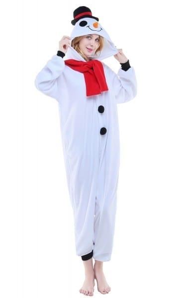 Winter Kawaii Cartoon Snowman White Pyjamas Cosplay Adult Onesie