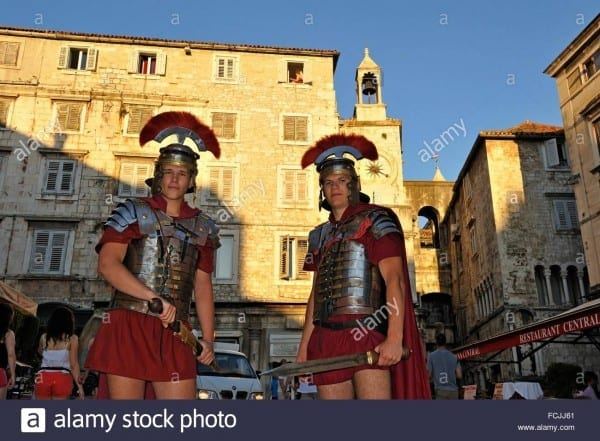 Young Men In Roman Centurion Costume On Narodni Square People´s