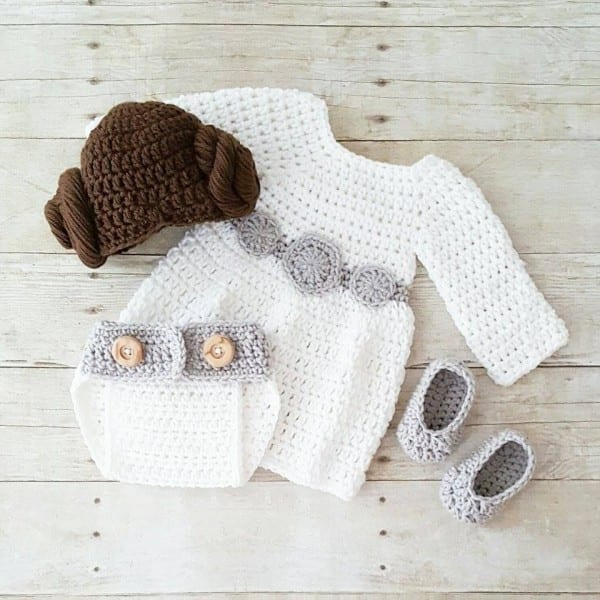 Crochet Baby Princess Leia Dress Hat Wig Hair Diaper Cover Shoes