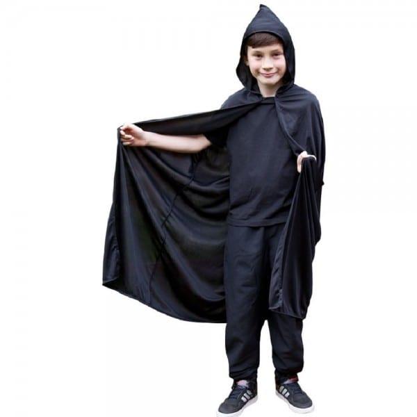 Black Hooded Cape Kids Fancy Dress Costume