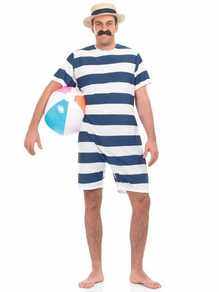 Mens 1920s Old Time Bathing Suit Victorian Beach Fancy Dress