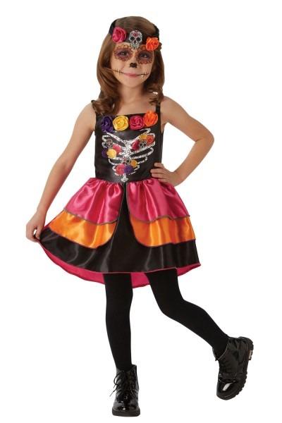 Rubies Kids Girls Sugar Skull Day Of The Dead Halloween Fancy