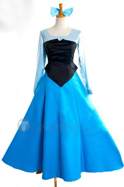The Little Mermaid Disney Princess Ariel Blue Dress Cosplay Costume