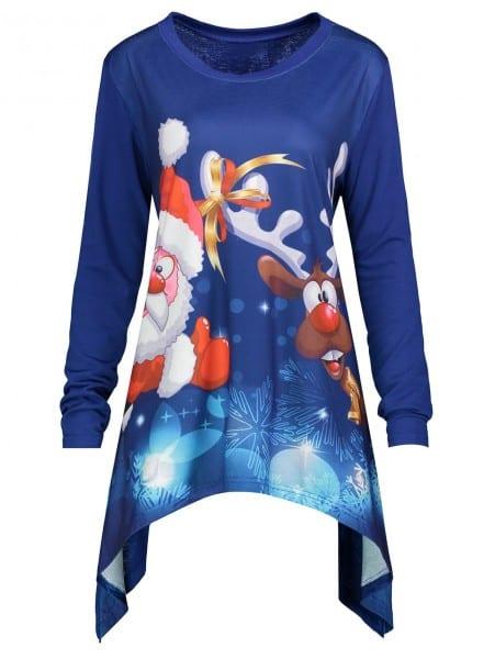 2018 Christmas Santa Claus Elk Asymmetrical Plus Size Tee Blue Xl