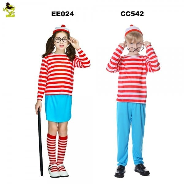2018 Where's Waldo Now Red&&white Stripes Cosplay Costume Kids