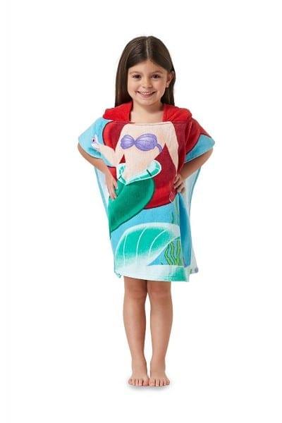 Disney Princess Ariel Hooded Bath Beach Poncho Towel, 22 In  X 22