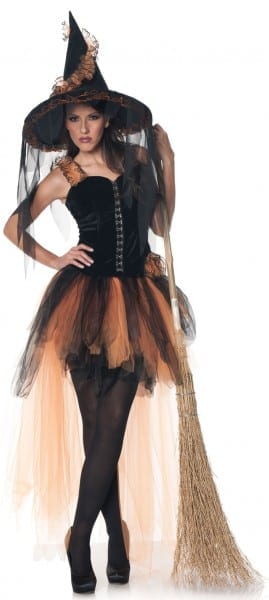 Sexy Adult Witch Costume For Women In Orange And Black