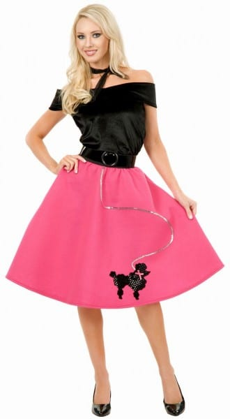 This Lovely Poodle Skirt, Top And Scarf Adult Costume Is Perfect