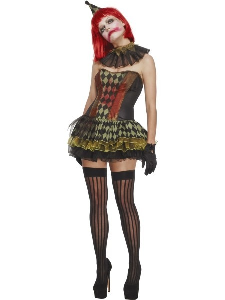 Adult Creepy Zombie Clown Costume Sexy Scary Jester Ladies
