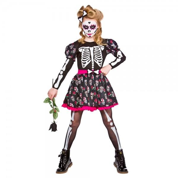 Children's Girls Halloween Skull Of The Dead Fancy Dress Costume
