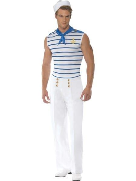 Mens Sailor Costume Navy Sailors Fancy Dress Outfit M,l