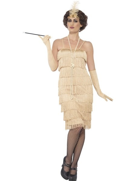 1920s Flapper Fancy Dress Costume Long Gold Great Gatsby Outfit S