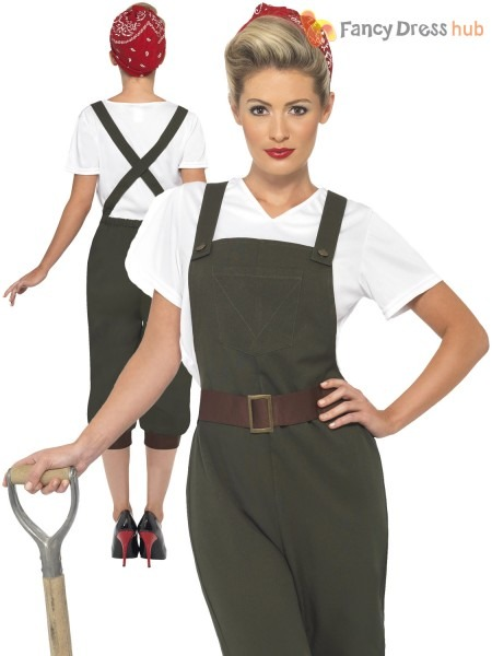 Ladies Ww2 1940s Land Girl Adults Army World War 2 Fancy Dress