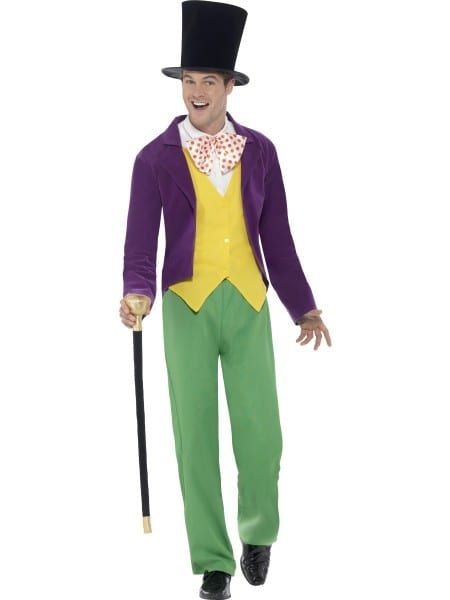 Roald Dahl Willy Wonka Costume Mens Book Week Fancy Dress Outfit M,l