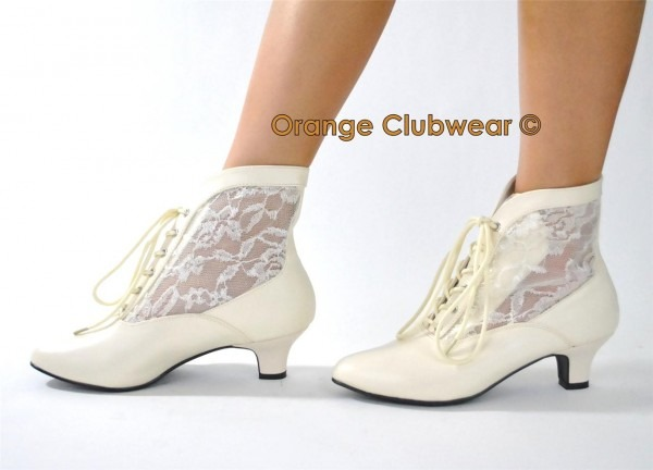 Old Fashioned Victorian Ivory Granny Wedding Shoes Boot