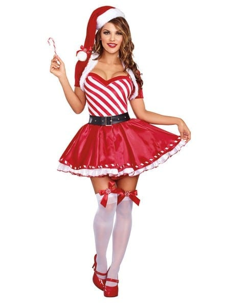 4 Pieces Layered Short Sleeves Cute Mrs Claus Dress Red White