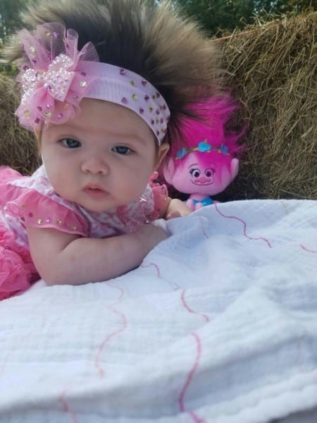 Baby's Big Hair Gets Lots Of Notice, Halloween Troll Costume