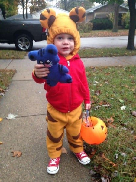 Daniel Tiger Costume  Made From Red Hoodie And Fleece Material
