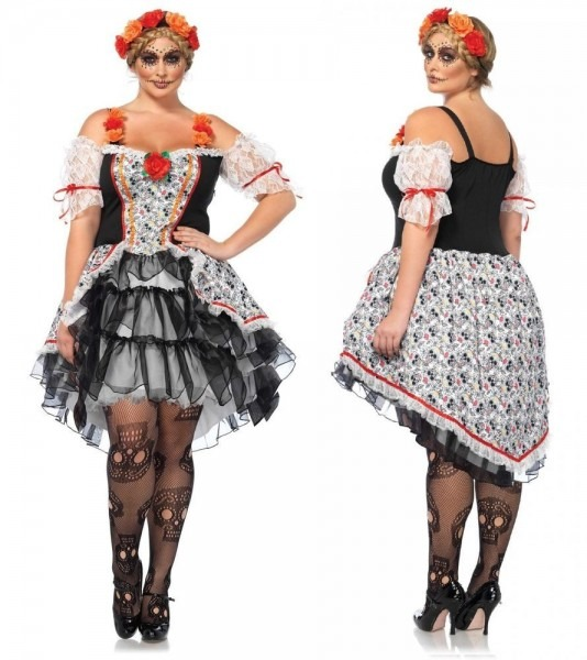 Day Of The Dead Sugar Skull Dia De Los Muertos Plus Size Costume