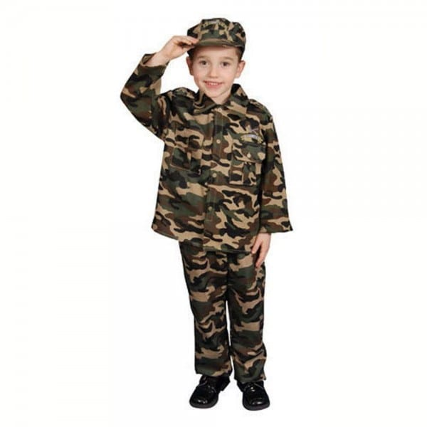 Boys Size 16 18 Brown Camouflage Army Halloween Costume Outfit Set