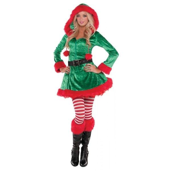 New Womens Christmas Sassy Elf Ladies Fancy Dress Party Costume