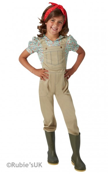Girls Book Week 1930s To 1940s Land Girl Costume Kids Fancy Dress