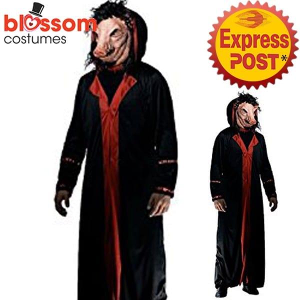 Ca669 Saw Pig Jigsaw Creepy Men Costume Halloween Movie Horror