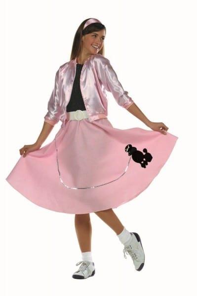 Poodle Skirt Black Or Pink Teen Costume 78038