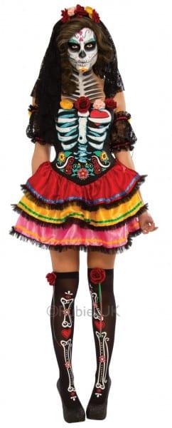Day Of The Dead Senorita Womens Fancy Dress Halloween Skeleton
