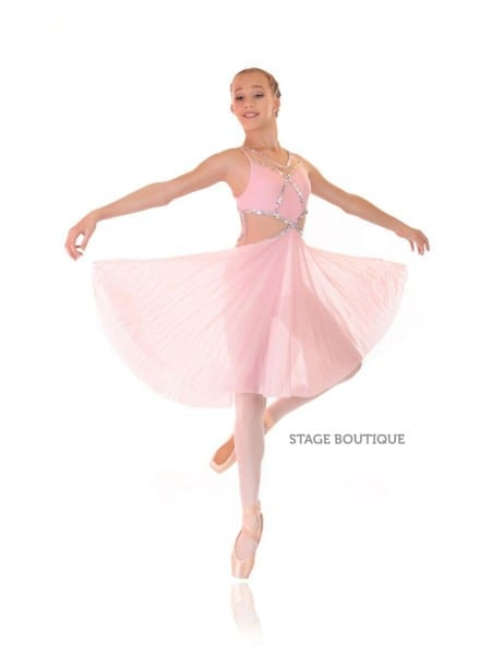 Pink Silver Dance Costume Lyrical Dress