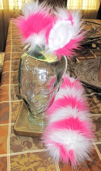 Custom Pink White Cheshire Cat Ears & Tail Set In 2 Variations By